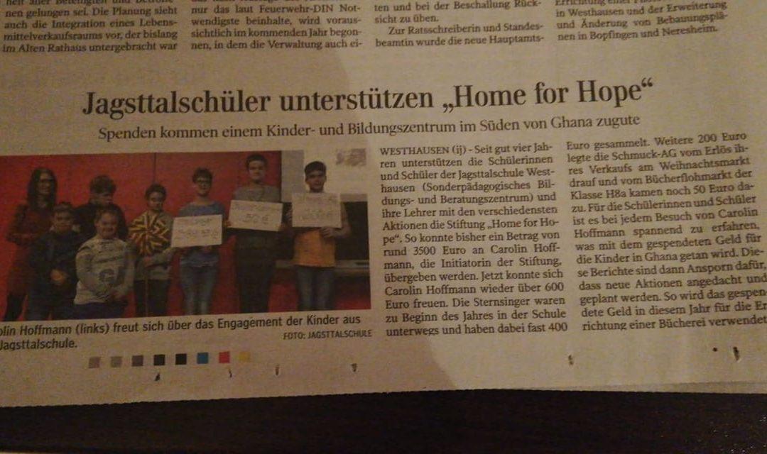Jagsttalschüler unterstützen Home for Hope